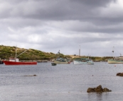 Currie harbour and the lighthouse