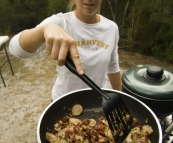 Lisa cooking up a storm at our campsite next to the Lindsay River