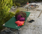 Carol taking a nap at our campsite on the Lindsay River