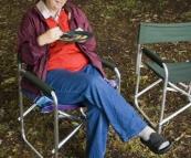 Carol enjoying blackberry pancakes for breakfast at Lilydale Falls