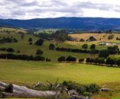 Beautiful farmland in the mountain valleys near Mount Victoria