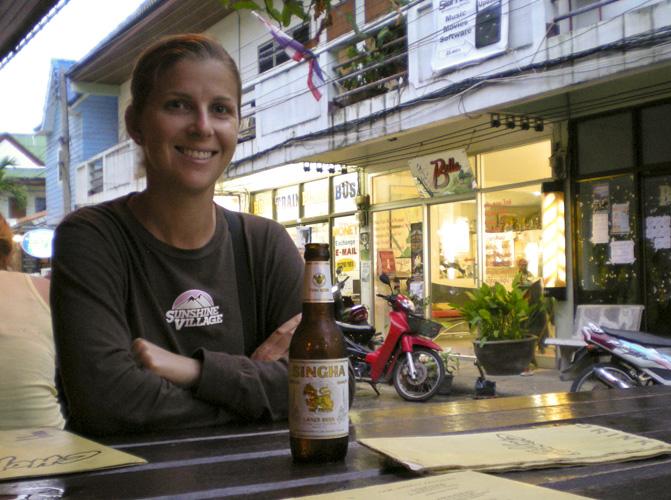 Lisa enjoying a beer in Sairee Village