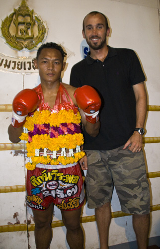 Sam with the champ after the fight