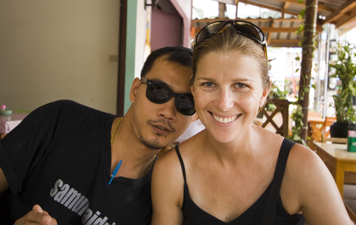 Lisa and the owner of our favorite Thai restaurant in Sairee Village (this guy is the Thai reincarnation of Stylez from Teen Wolf!)