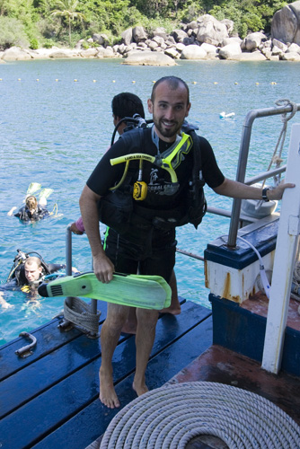 Sam done with his first open water dive