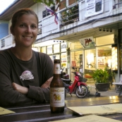 Lisa enjoying a beer in Sairee Village