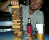 Sam playing Jenga at one of the bars in Ao Patong