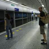 Sam waiting for the MRT (subway)