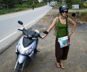 Lisa next to our moped on the way to Bang Pae Waterfall