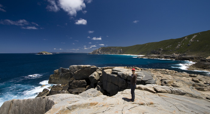 Lisa near Natural Bridge in Torndirrup National Park