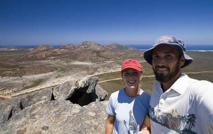 Sam and Lisa atop Frenchman's Peak with Cape Le Grand in the background