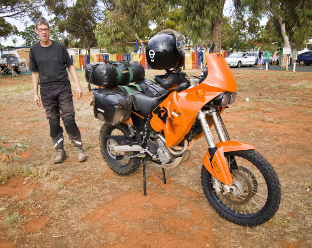 A European fellow and his KTM in Kalgoorlie