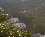View of the car park from the peak of Bluff Knoll