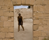 Lisa in the ruins of the old telegraph station at Eucla