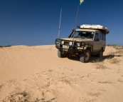 The track usurped by the dunes on the way to Coral Bay