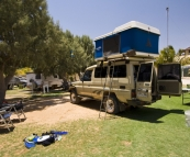 Giving The Tank a good cleaning at one of Coral Bay\'s caravan parks