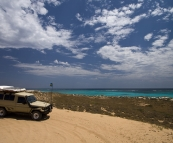 The Tank in the dunes above Five Finger Reef south of Coral Bay