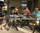 The four of us playing dominoes on our patio at Ningaloo Reef Resort