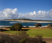 Panoramic of the town of Kalbarri with the Murchison River winding its way into the ocean