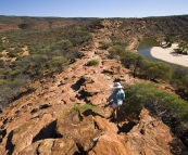Lisa hiking The Loop Walk in Kalbarri National Park