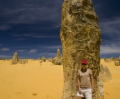 Lisa in The Pinnacles Desert in Nambung National Park