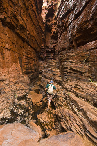 Sam making his way through the striking canyons of Weano Gorge