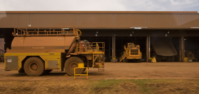 The workshop at Tom Price mine: boys and their (big) toys