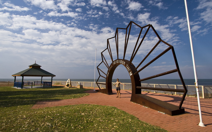The ANZAC memorial on the beach at Onslow