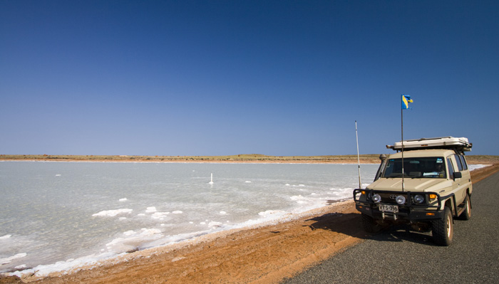 The Tank next to one of the many salt flats in Onslow