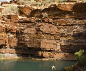 Lisa relaxing in the pool at the base of Fortescue Falls