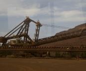 Shovels for loading the train at Tom Price mine