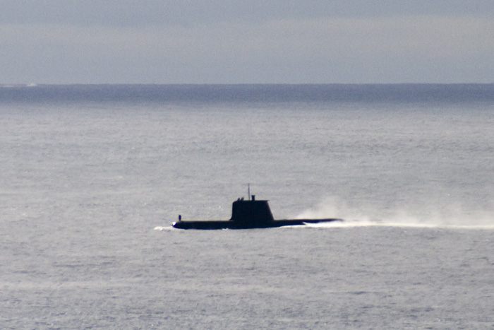 A submarine coming up for air near Williams Island