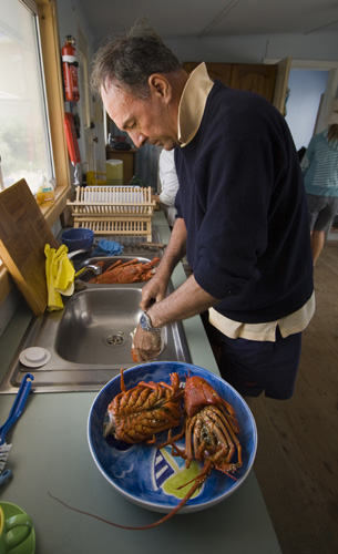 Bob preparing crayfish for lunch