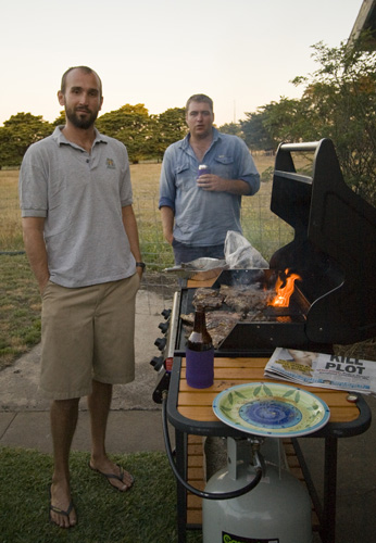 Sam and Al taking care of the BBQ