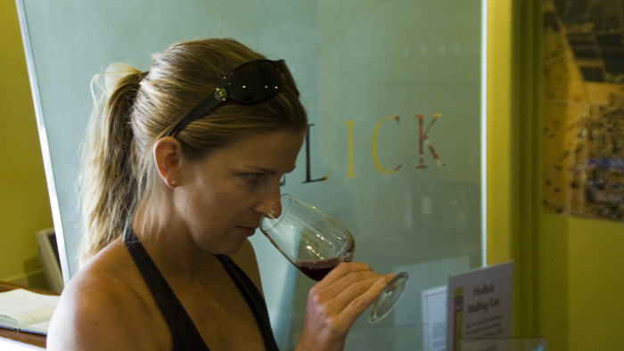 Lisa tasting at Hollick Winery