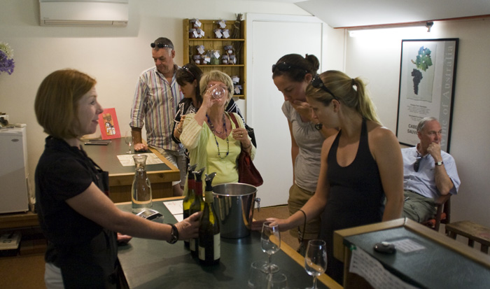 Gina and Lisa tasting at Bowen Estate