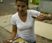 Lisa sampling some Coffin Bay oysters