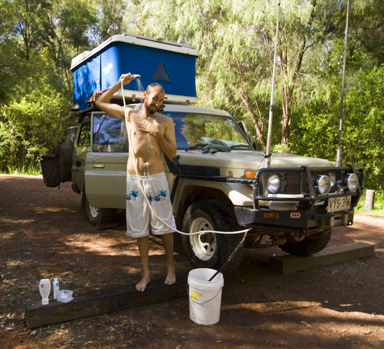 Taking a much needed hot shower in Warren National Park