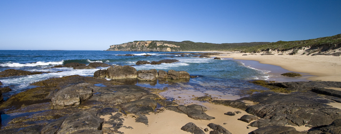 Looking at Point D\'entrecasteaux from the beach at Windy Harbour