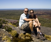 Sam and Lisa on top of Mount Chudalup near Windy Harbour