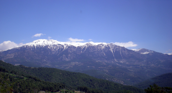 Snow-capped peaks on the road joining Antalya and Fethiye
