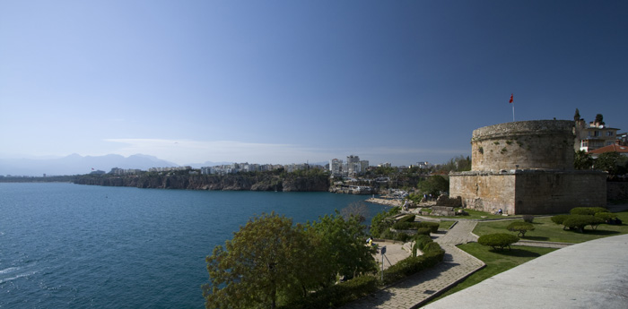 View of Hidirlik Kulesi and Antalya Bay from the cliffs near our hotel
