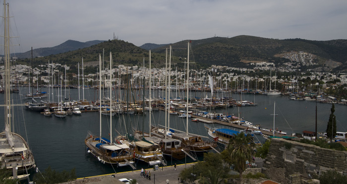 The marina and town of Bodrum