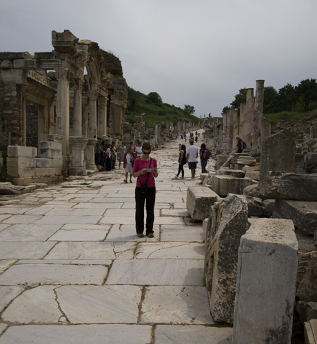 Lisa figuring out the ruins at Ephesus
