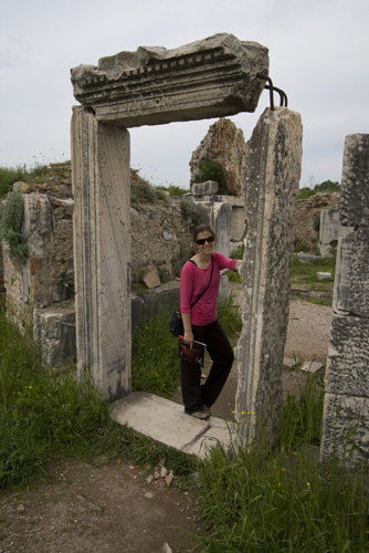 Lisa in a gate leading to the baptismal baths in the Church of Mary