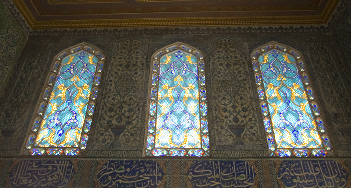 Stained glass in the sultan's sons' training area (the double kiosk) in Topkapi Palace