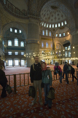 Sam and Lisa inside the Blue Mosque