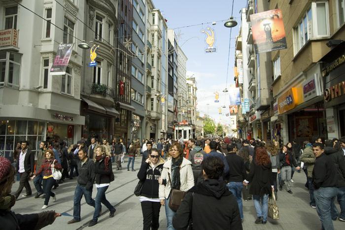 The bustling Istiklal Caddesi