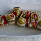 One of Lisa's favorite mezes: olives wrapped in anchovies