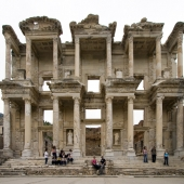 Sam and Lisa in one of Ephesus\' main attractions: the Library of Celsus